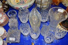 CUT GLASS WARES INCLUDING VASE AND SERVING DISHES