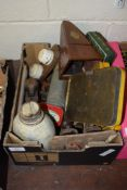 BOX CONTAINING VARIOUS TINS FOR SELF-TAPPING SCREWS, OLD STYLE EXTINGUISHER AND LIGHT FITTING