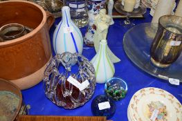 ART GLASS VASE WITH MURANO STICKER, PLUS TWO VASES AND PAPERWEIGHTS