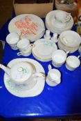 DINNER SERVICE IN ROYAL STAFFORD BONE CHINA INCLUDING DINNER PLATES, SIDE PLATES, DISHES, CUPS AND