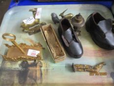 TRAY CONTAINING PLATED ITEMS AND SMALL PAIR OF CHILDREN'S LEATHER CLOGS