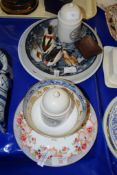 "CERAMIC ITEMS INCLUDING A BLUE AND WHITE BOWL AND ""PONDS WHITE TOOTHPASTE"" DISH"