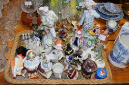 TRAY WITH VARIOUS CERAMICS INCLUDING A DOULTON FIGURE OF PICKWICK AND STAFFORDSHIRE FIGURES OF