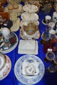 CERAMICS INCLUDING CHEESE DISH, CAKE STAND AND JAPANESE NORITAKE STYLE TEA POT
