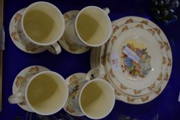 ROYAL DOULTON BUNNIKINS WARES INCLUDING FOUR MUGS AND STANDS AND QUANTITY OF SIDE PLATES