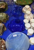 FINNISH ART GLASS BOWL, BLUE GLASS ITEMS AND A GLASS DOME