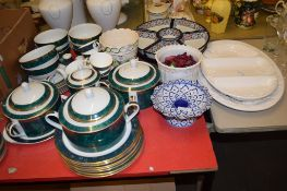 LAZY SUSAN AND OTHER POTTERY ITEMS, TOGETHER WITH A ROYAL DOULTON CUPS AND SAUCERS IN THE CARLYLE