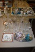 COLLECTION OF GLASS WARES INCLUDING DECANTERS AND DRINKING GLASSES