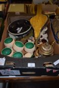 BOX CONTAINING VARIOUS CHINA INCLUDING A POTTERY BOWL DECORATED WITH A DRAGON SIGNED P NASH TO BASE,