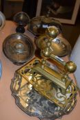 BRASS TRIVET AND SILVER PLATED SHAPED TRAY AND OTHER METAL ITEMS