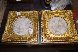 TWO MODERN PARIAN TYPE PLAQUES IN GILT FRAMES