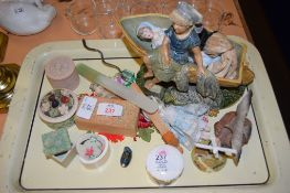 TRAY CONTAINING VARIOUS CERAMIC ITEMS INCLUDING A SMALL DOLL AND POTTERY MODEL OF A YOUNG GIRL