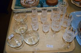 TRAY CONTAINING CUT GLASS WINE GLASSES, SHERRY GLASSES ETC