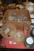 TRAY CONTAINING VARIOUS CUT GLASS ITEMS INCLUDING A FRUIT BOWL PLUS A BOX OF GLASS WARES