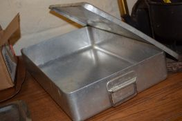 """WHITE METAL TRAY AND COVER WITH CARRYING HANDLES, THE TOP STAMPED """"GR VI 1953"""""""