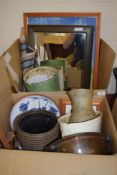 TWO BOXES CONTAINING VARIOUS ITEMS OF METAL WARES, COPPER BOWL, SOME POTTERY AND SOME SILVER