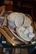BOXES CONTAINING VARIOUS CHINA WARES AND TWO PRINTS IN GILT FRAMES