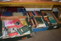 FOUR BOXES OF BOOKS, VARIOUS TITLES INCLUDING SOME OF ROYAL AND MILITARY INTEREST