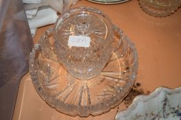 """COLLECTION OF GLASS WARES INCLUDING FRUIT BOWLS, BOHEMIAN STYLE GOBLET INCLUDING ONE ENGRAVED """""""