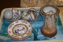 TRAY WITH LATE VICTORIAN POTTERY ITEMS AND A GLASS MODEL OF A SHIP