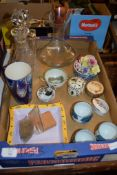 BOX CONTAINING VARIOUS CHINA AND GLASS WARE INCLUDING TWO CUT GLASS DECANTERS WITH STOPPERS