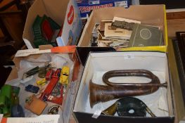 BOX CONTAINING MILITARY TRUMPET, PROBABLY ROYAL ARTILLERY, AND THREE FURTHER BOXES CONTAINING