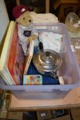 PLASTIC BOX CONTAINING A SILVER METAL TEA POT, A TOY DOLL, SOME LPS