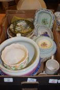 BOX CONTAINING VARIOUS CHINA WARES, COLLECTORS PLATES INCLUDING SALISBURY CATHEDRAL AND VARIOUS 19TH