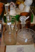 GLASS WARES INCLUDING TWO DECANTERS AND STOPPERS