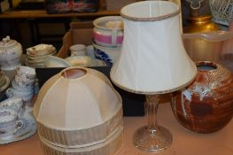 GLASS TABLE LAMP AND SHADE