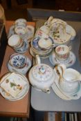 MIXED LOT INCLUDING A TEA POT AND CUPS AND SAUCERS, ALSO A MEISSEN LOBED SAUCER AND DRESDEN SAUCER