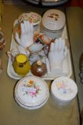 TRAY CONTAINING VARIOUS CHINA INCLUDING TWO CHINA MODELS OF HANDS ETC, COALPORT BOX AND COVER