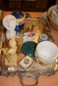 LARGE SILVER PLATED TRAY CONTAINING CERAMIC ITEMS INCLUDING A WEDGWOOD JASPERWARE CIRCULAR BOX AND