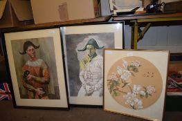 PRINT IN BLACK WOODEN FRAME OF A JESTER, TOGETHER WITH AN ORIENTAL PRINT OF FLOWERS