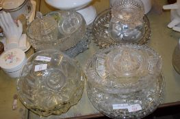GLASS WARES INCLUDING CUT GLASS FRUIT BOWLS AND DISHES