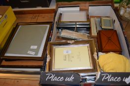 COLLECTION OF SILVER METAL PHOTOGRAPH FRAMES AND WOODEN JEWELLERY BOX