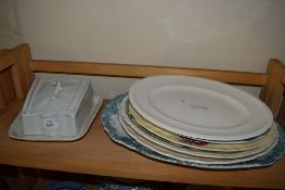 CERAMIC CHEESE DISH AND COVER AND OTHER SERVING DISHES