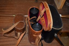 GROUP OF THREE CAMERAS IN ORIGINAL LEATHER CASES