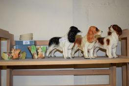 GROUP OF CERAMIC ITEMS INCLUDING THREE MODELS OF DOGS