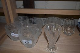 GROUP OF CUT GLASS CUPS AND CHINA MUGS