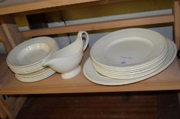 GROUP OF WEDGWOOD CREAMWARE DINNER WARES INCLUDING PLATES, SERVING DISH AND SOME DESSERT BOWLS