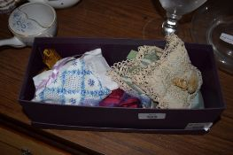BOX CONTAINING SMALL MINIATURE CUSHIONS