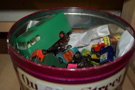 TIN CONTAINING QUANTITY OF DINKY TOYS