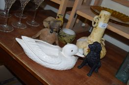 GROUP OF POTTERY ITEMS INCLUDING VASE, MODEL OF A DOG AND A BIRD