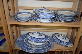 PART WOOD & SONS DINNER SERVICE COMPRISING SERVING DISHES, SAUCE TUREEN, TWO LARGE TUREENS AND