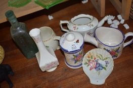 GROUP OF CERAMIC ITEMS, COMMEMORATIVE MUG, ROYAL CROWN DERBY TEA POT, (LACKING COVER)