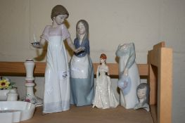 GROUP OF FOUR LLADRO FIGURES OF YOUNG GIRLS