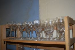 COLLECTION OF VARIOUS DRINKING GLASSES INCLUDING SOME WITH MERCURY TWIST STEMS