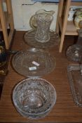 CUT GLASS TAZZA AND BOWLS