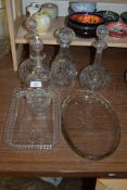 COLLECTION OF CUT GLASS DECANTERS AND STOPPERS